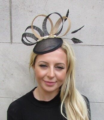 Black Gold Silver Diamante Feather Pillbox Hat Fascinator Races Hair Clip 6425
