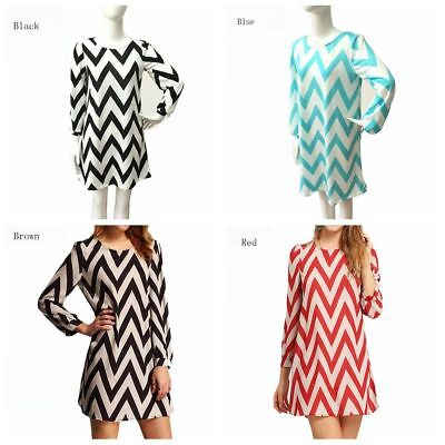 Round Neck Summer Wavy Long Dress Long-sleeved Skirt Party Clothes Printed