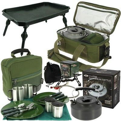 Fishing Brew Bag Cooking Set With Gas Stove Kettle Cutlery Bag Ngt Tackle