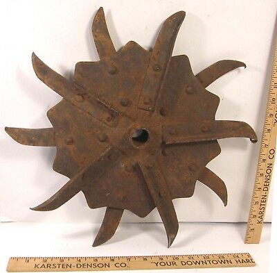 "Antique Rustic Rotary Hoe Cultivator Wheel 16"" Garden Yard Art Iron Industrial"