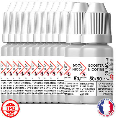 Pack Booster Nicotine 20 mg 10 ml 50/50 -50% PG / 50% VG DIY Lot de 12 Bouteille