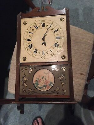 Antique Time Only Wall Clock Parts Or Restoration