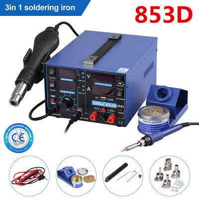 YIHUA 853D Soldering Iron Station 3 in 1 USB 2A Rework Hot Air Desoldering Tool