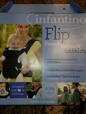 Infantino Flip Baby Advanced 3 in-1 Convertible Carrier-Black W/Accessories