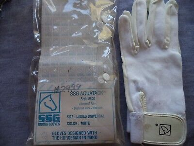 White Ssg All Weather Ladies Mens Horseback Riding Driving Gloves