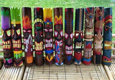 """40"""" Hand Carved Solid Wood Tiki God Wall Mask Totem Tropical Bar Man Cave Garden"""