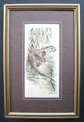 "Framed Beautiful Original  Cash Of Coventry  Woven Silk & Rayon  "" The Otter """