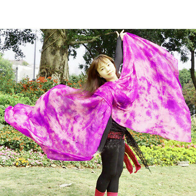 Brand New Vibrant Tie-dye Belly Dance Real Silk Veil  Half Circle 98 x 45 inch