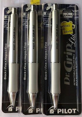 Pilot Dr. Grip Retractable Rollerball Gel Fine Black Ink, Lot Of 3 Silver Pen