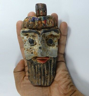 RARE Huge Ancient Phoenician Mosaic Glass Face Pendant 300 bc, 138mm*71mm|Bead