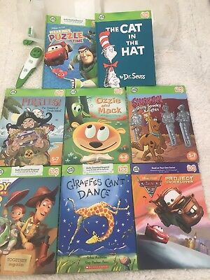 Lot of 8 Leapfrog Tag Reader Books Set, Case and Pen