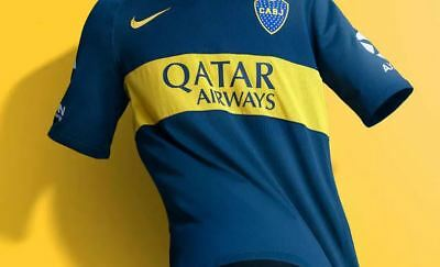 New! 18-19 Nike Boca Juniors Home Shirt with Axion Sleeve patches.