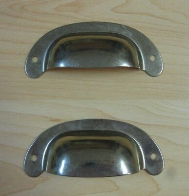 "(2) small Vintage PRESSED METAL CABINET DOOR DRAWER HANDLE PULL 3 3/8"" across"