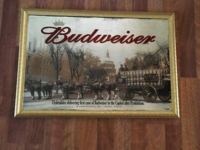 """2006 Budweiser Clydesdales After Prohibition Mirror in Gold Frame 36"""" x 24"""""""