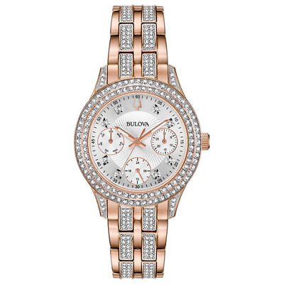 Bulova Women's Rose Gold Tone Stainless Steel Crystals Watch 98N113