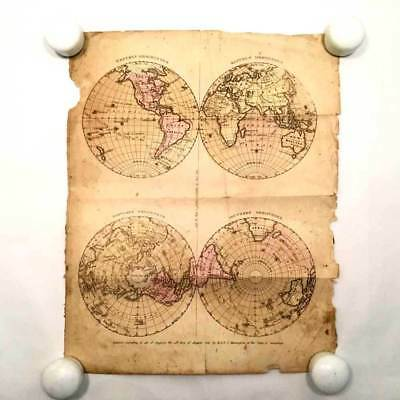 Antique Original Hand Colored Map - 1830 - World