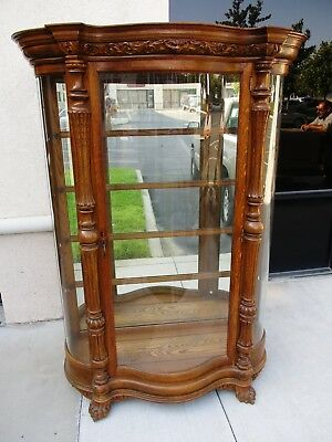 Victorian Horner Style 19Th Century Curved Glass Oak China Cabinet Pawfeet