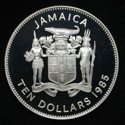1985 Jamaica International Year of Youth Silver Proof $10 (cap only) (cn5998)