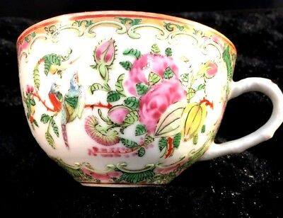 Antique Chinese Export Tea Cup Famille Rose Medallion Birds Gold Gilt Pre-1890