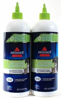 2 Bissell Pet Urine Eliminator Tough Stains Odors From Carpet Enzyme Action 32oz
