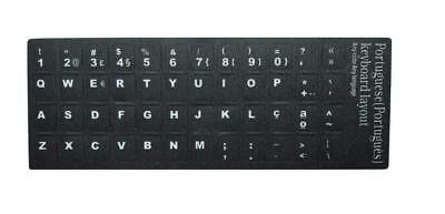 Portuguese Português Language Keyboard Stickers Opaque Black with White Keys