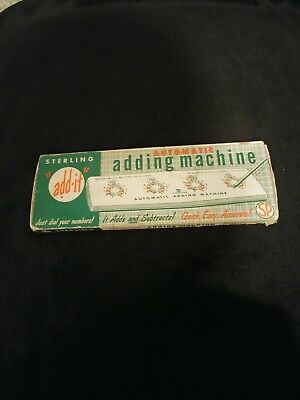 Vintage Sterling Automatic Adding Machine Dial-A-Matic Math With Stylus 565 Box