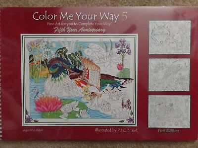 ADULT COLORING BOOK COLOR ME 5 WILDLIFE ANIMALS NATURE 24 PICTURES 11X16+2 Cards