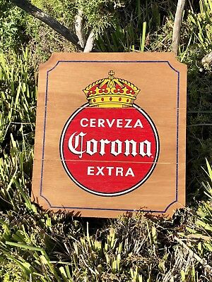 Corona Extra Cerveza Wood Beer Bar Man Cave Sign Mirror