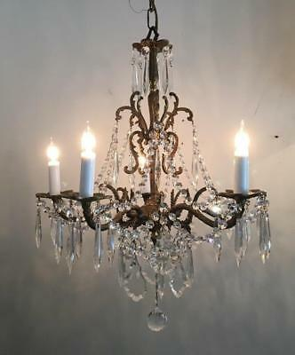 ANTIQUE VTG BRONZE TONE BRASS w FRENCH & CZECH CRYSTALS PETITE CHANDELIER LAMP