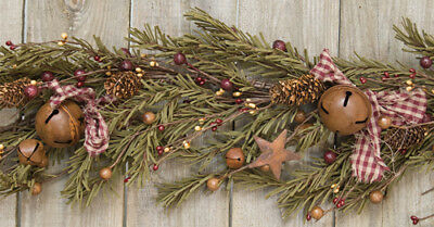 New Primitive Country  RUSTIC PINE GARLAND Star Berries Bells Bow Swag Christmas