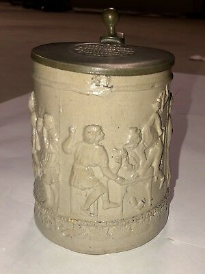 Antique 1800's Westerwald (Regensburg) ceramic beer stein salt-glazed finish