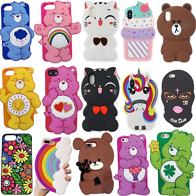 Cover For Iphone 6s 7 Rainbow X Cute Bear Cartoon Case Care 8 Character Silicone