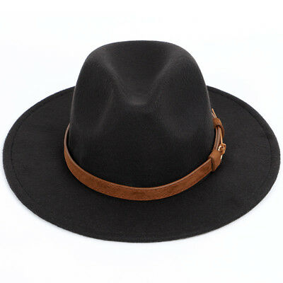 Women Men Winter Wool Blend Warm Fedora Panama Hat Solid Colour Church Jazz Cap