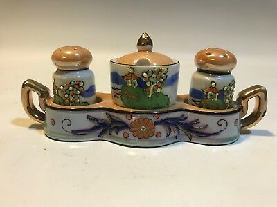 Lusterware Moriage Condiment Set Salt & Pepper Shakers Vintage TWC Japan