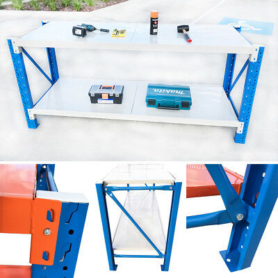 2M Length Steel Garage Work Bench Shelvings Workshop Workbench Racks Workbenches