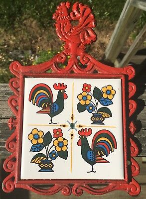 Cast Iron Chicken Trivet Rooster And Flowers Tile Both Trivet And Tile Japan