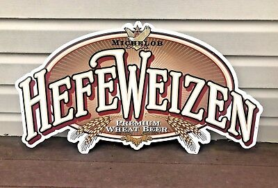 Vintage 1996 Michelob Hefeweizen Premium Wheat Beer Tin Metal Sign 36x21