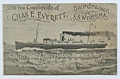 1910 Advertising Chas Everett Hairdresser Pu Postcard Ss Wyreema Darge  S1