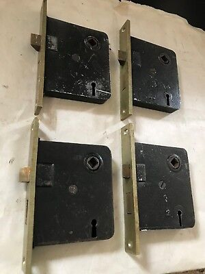 "4 Antique Arts Craft Deco Victorian Cast Brass Face 5 1/4"" Door Mortise Lock"