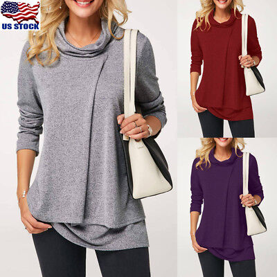 Women Winter Long Sleeve High Neck Blouse Ladies Loose Casual Tunic Tops Shirt