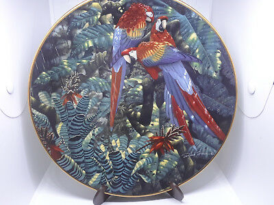 Collectible LENOX Miracles of the Rainforest Parrot Plate Scarlet Macaws