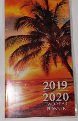 """2019-2020 2-Year Pocket Planner """"Palm Tree Sunset""""For School, Work,Appointment"""