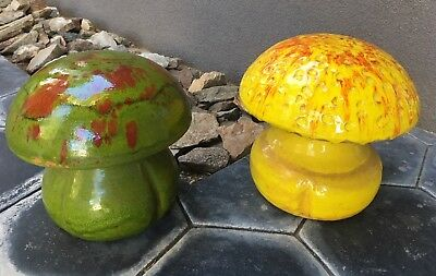 Vintage Mid Century Modern Ceramic Mushrooms Architectural Pottery Eames Era