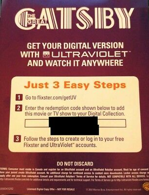 The Great Gatsby Ultraviolet Digital Code - NO Disc *CANADA ONLY*