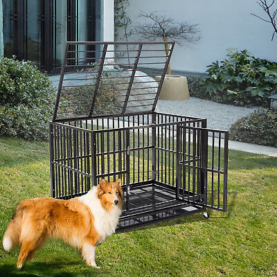 Heavy Duty Dog Cage Crate Kennel Metal Pet Playpen Portable w/Tray Black New