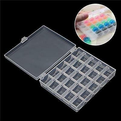 25Pcs Empty Sewing Machine Bobbins Spools Clear & Plastic Case Storage Box SO