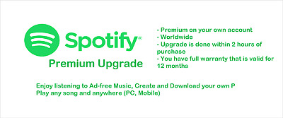 Spotify Premium [Your account] [12 Months Warranty] [Delivery within 4 hours]
