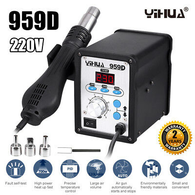 650W 2in1 959D Soldering Iron Station Hot Air Gun Repair Desoldering Welding LED
