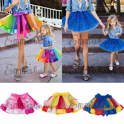 Dance Baby Kids Women Girls Rainbow Tutu Skirt Fancy Skirts Dress Up Clothes AU