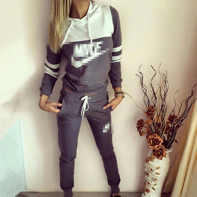 2Pcs Women Tracksuit Hoodies Sweatshirt Pants Sets Sport Lounge Casual Suit